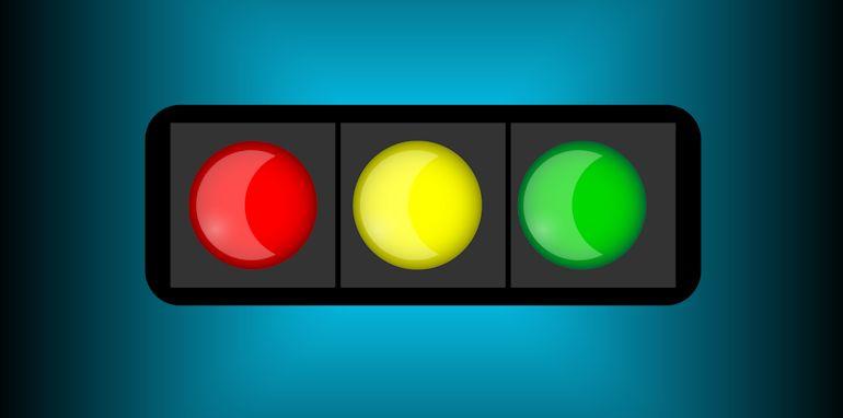 Traffic light icon. Internet button on white background.